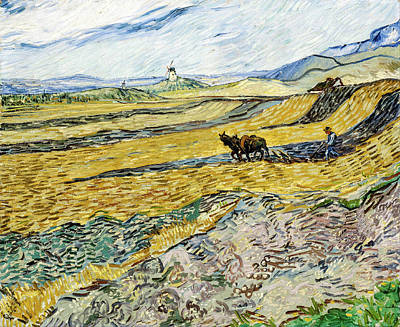 Field. Cloud Painting - Enclosed Field With Ploughman by Vincent van Gogh