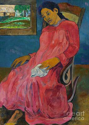 Woman In Rocking Chair Painting - Faaturuma, Melancholic by Paul Gauguin