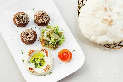 Falafel Hummus Houmus Starter Snack Food Mezze Platter Art Print