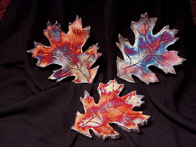 Japanese Ceramics Ceramic Art - Falling Leaves by Jude  Winchester