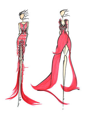 Red Gown Drawing - Fashion Illustration by Anukriti Goswami