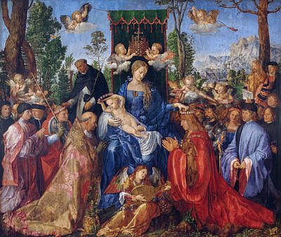 Child Jesus Painting - Feast Of Rose Garlands by Albrecht Durer