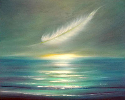 Painting - Feather At Sunset by Gina De Gorna