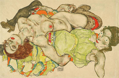 Exposed Painting - Female Lovers by Egon Schiele