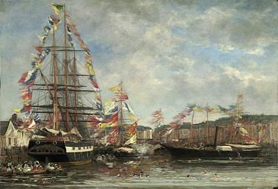 Festival In The Harbor Of Honfleur Print by Eugene Boudin