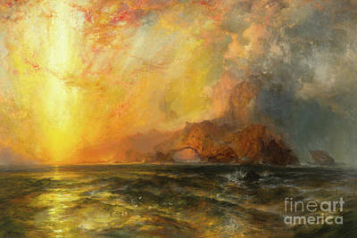 Painting - Fiercely The Red Sun Descending Burned His Way Along The Heavens by Thomas Moran