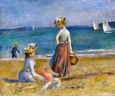 Photograph - Figures On The Beach by Pierre Auguste Renoir
