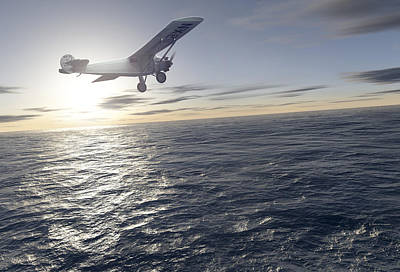 Ocean Power Photograph - First Solo Transatlantic Flight, 1927 by Detlev Van Ravenswaay
