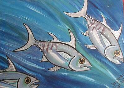 Sea Wall Art - Painting - 3 Fish by Joan Stratton