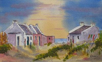Painting - 3 Fishermen's Cottages by Harold Kimmel