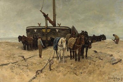 Anton Painting - Fishing Boat On The Beach by Anton Mauve