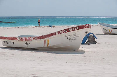Digital Art - Fishing Boats At Tulum Beach by Carol Ailles