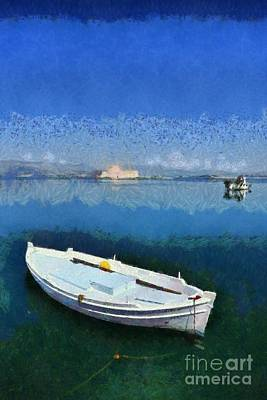 Fish Painting - Fishing Boats In Nafplio Town by George Atsametakis