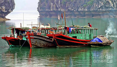 Photograph - 3 Fishing Boats Vietnam  by Chuck Kuhn