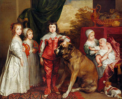 Puppy Painting - Five Eldest Children Of Charles I by Anthony van Dyck