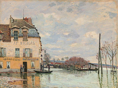 Riverscape Painting - Flood At Port-marly by Alfred Sisley