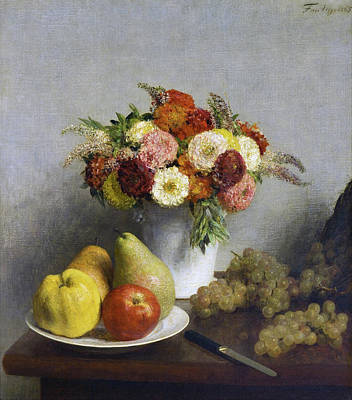 Painting - Flowers And Fruit by Henri Fantin-Latour