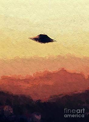 Science Fiction Paintings - Flying Saucer by Raphael Terra