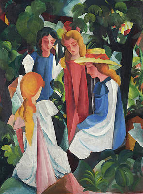 Female Painting - Four Girls by August Macke