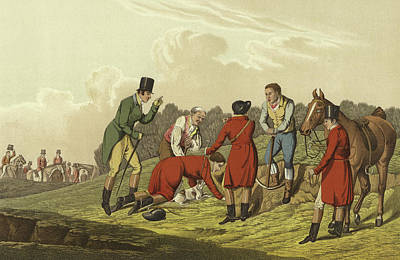 Foxes Drawing - Fox Hunting by Henry Thomas Alken