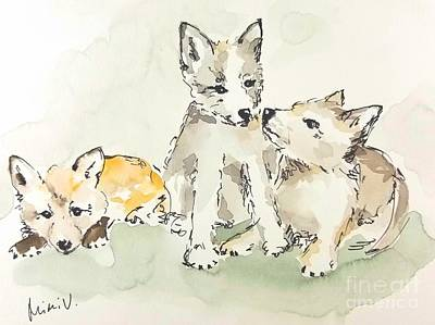 Painting - 3 Fox Pups by Maria Langgle