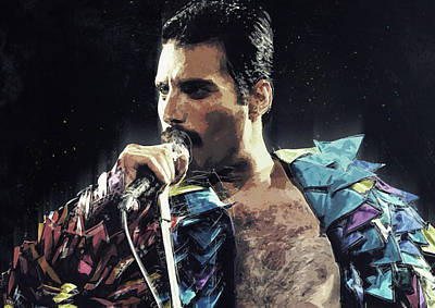 Led Zeppelin Digital Art - Freddie Mercury by Semih Yurdabak