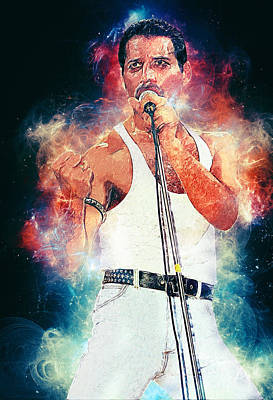 Led Zeppelin Digital Art - Freddie Mercury by Taylan Apukovska