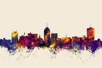 Watercolour Wall Art - Digital Art - Fresno California Skyline by Michael Tompsett