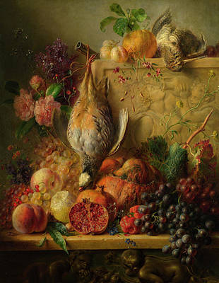 Carcass Painting - Fruit, Flowers And Game by Georgius Jacobus Johannes van Os