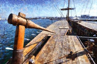 Marine Painting - Painting Of An Ancient Trireme by George Atsametakis