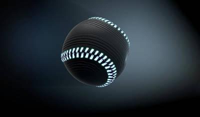 Isolated Digital Art - Futuristic Neon Sports Ball by Allan Swart