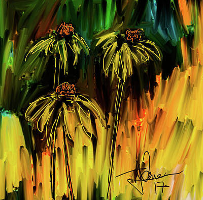 Digital Art - Garden Flowers by Jim Vance