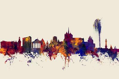 Geneva Switzerland Skyline Art Print