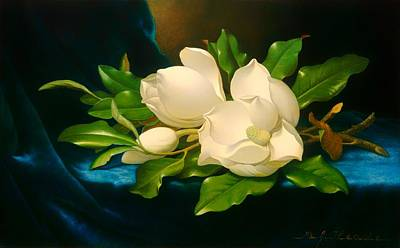 Blue Velvet Painting - Giant Magnolias On A Blue Velvet Cloth by Mountain Dreams