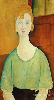 Painting - Girl In A Green Blouse by Amedeo Modigliani