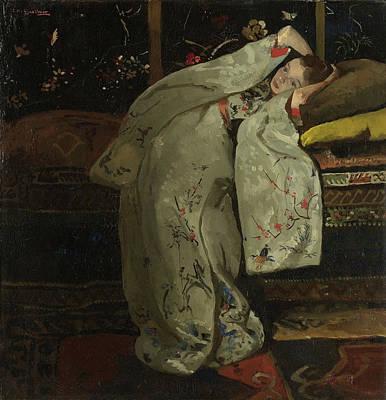 Girl In A White Kimono Print by George Hendrik Breitner
