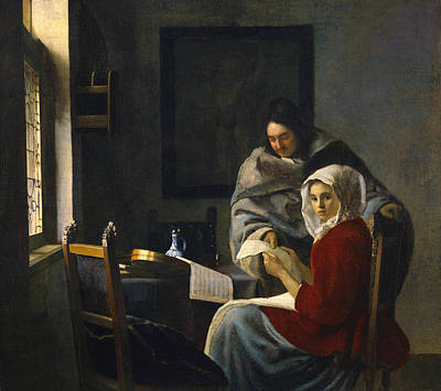 Musical Painting - Girl Interrupted At Her Music by Johannes Vermeer