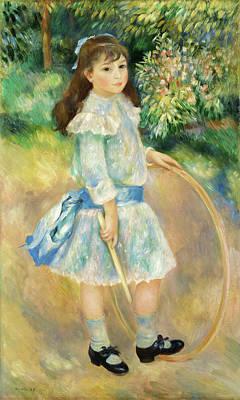 Teenager Painting - Girl With A Hoop by Pierre-Auguste Renoir