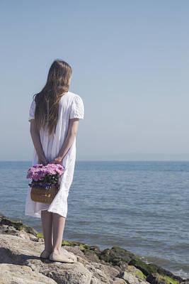 Waiting Girl Wall Art - Photograph - Girl With Flowers by Joana Kruse