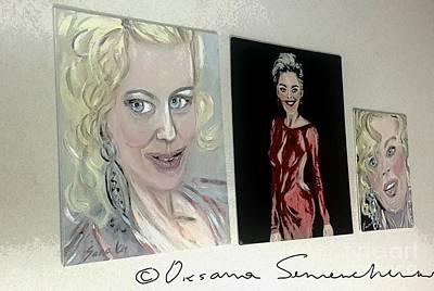 Painting - 3 Glamorous Girls by Oksana Semenchenko