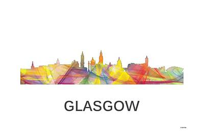 Digital Art - Glasgow Scotland Skyline by Marlene Watson