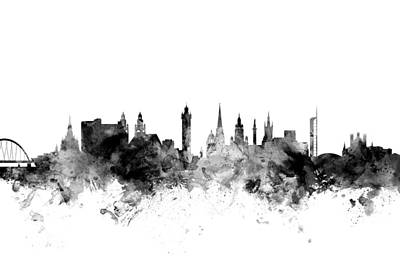Glasgow Scotland Skyline Art Print by Michael Tompsett