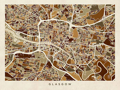 Great Britain Digital Art - Glasgow Street Map by Michael Tompsett