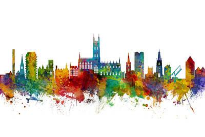 Digital Art - Gloucester England Skyline by Michael Tompsett