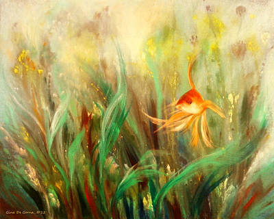 Gold Fish Print by Gina De Gorna