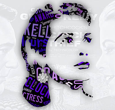 Grace Kelly Movies In Words Art Print