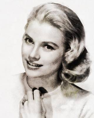 Grace Kelly Painting - Grace Kelly, Vintage Hollywood Actress by John Springfield