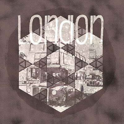 Graphic Art London Streetscene Art Print by Melanie Viola