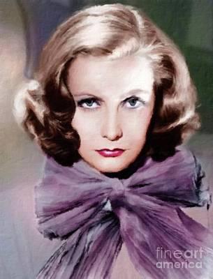 Greta Garbo Painting - Greta Garbo Vintage Hollywood Actress by Mary Bassett