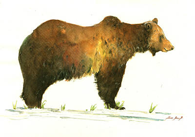 Grizzly Bear Painting - Grizzly Brown Bear by Juan  Bosco